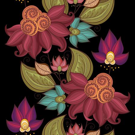 ベクターのシームレス花柄。手描き花柄テクスチャ、装飾花の塗り絵