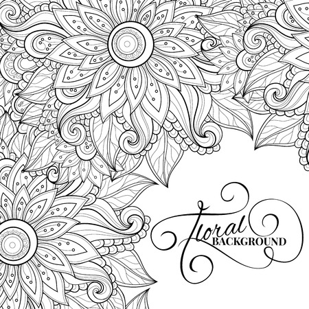floral elements: Vector Monochrome Floral Background. Hand Drawn Ornament with Flowers. Template for Greeting Card Illustration