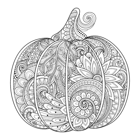 seasonal symbol: Vector Monochrome Decorative Punkim with Beautiful Pattern. Thanksgiving Symbol. Halloween Decorations Illustration