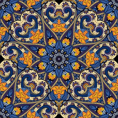 mendi: Vector Seamless Colored Ornate Pattern. Hand Drawn Mandala Texture, Vintage Indian Style