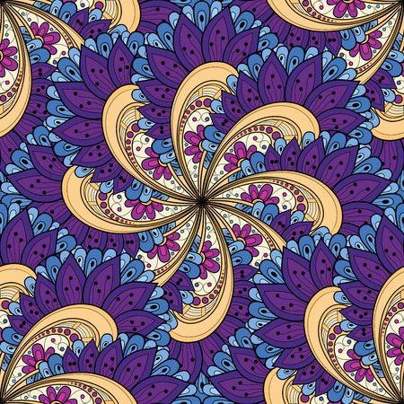 batik motif: Vector Seamless Colored Ornate Pattern. Hand Drawn Mandala Texture, Vintage Indian Style