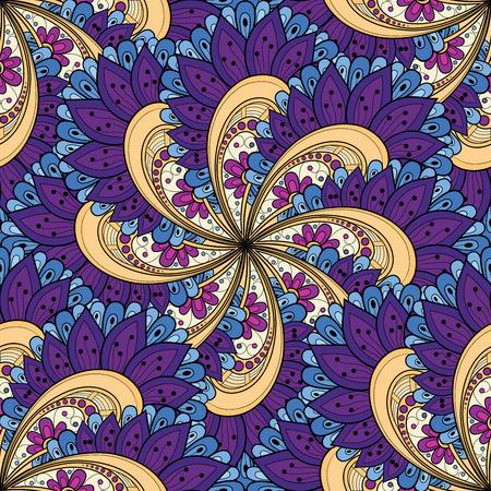 batik: Vectorielle Seamless coloré Motif Ornement. Hand Drawn Mandala Texture, Style vintage indien