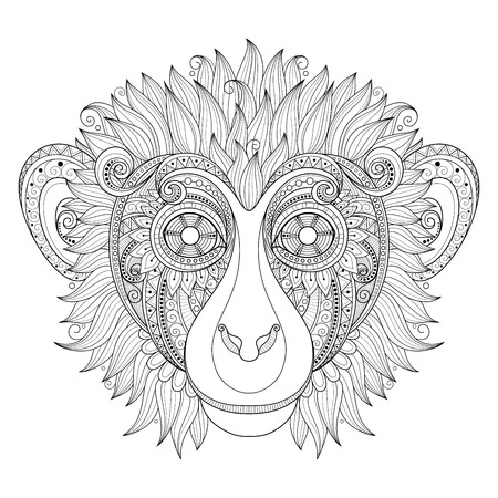 chinese new year decoration: Vector Ornate Monkey Head. Patterned Tribal Monochrome Design. Symbol of the Year 2016 by Chinese Horoscope Illustration