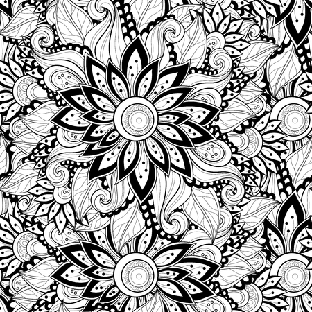 grasses: Vector Seamless Monochrome Floral Pattern. Hand Drawn Floral Texture, Decorative Flowers, Coloring Book Illustration