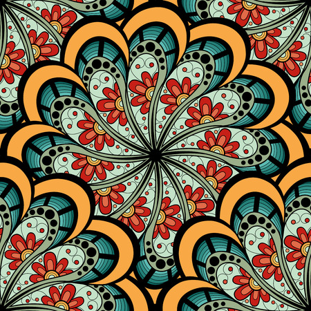 Vector Seamless Colored Ornate Pattern. Hand Drawn Mandala Texture, Vintage Indian Style