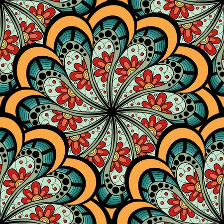 celtica: Vector Seamless colorato Ornato. Hand Drawn Mandala Texture, Vintage Indian Style