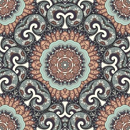 Vector Seamless colorato Ornato. Hand Drawn Mandala Texture, Vintage Indian Style Archivio Fotografico - 45712984