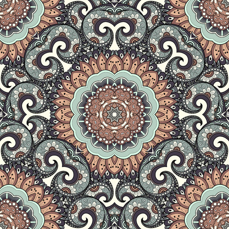 aztec: Vector Seamless Colored Ornate Pattern. Hand Drawn Mandala Texture, Vintage Indian Style