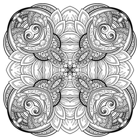mehendi: Vector Beautiful Deco Monochrome Contour Mandala, Patterned Design Element, Ethnic Amulet