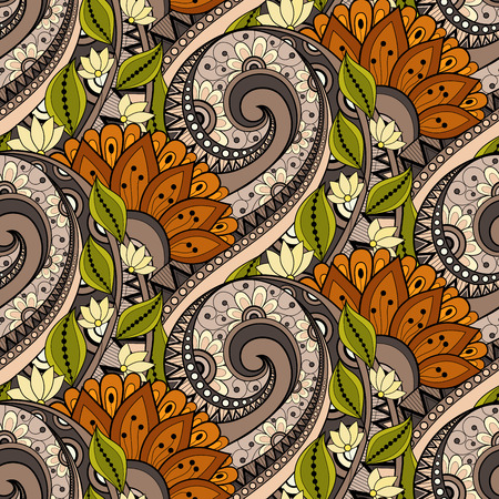 batik: Motif vectorielle Seamless Floral. Hand Drawn Floral Texture, Fleurs d�coratives, Coloring Book