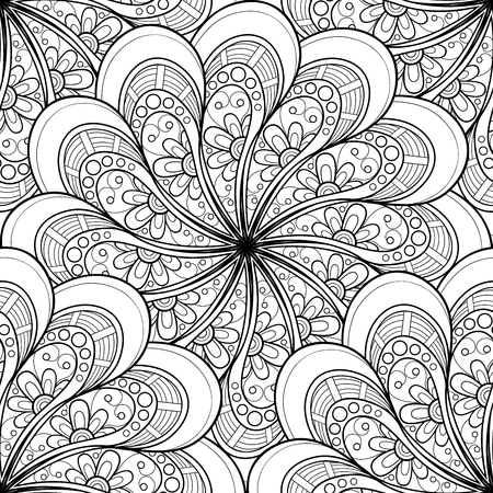 mandala vector: Vector Seamless Monochrome Ornate Pattern. Hand Drawn Mandala Texture, Vintage Indian Style