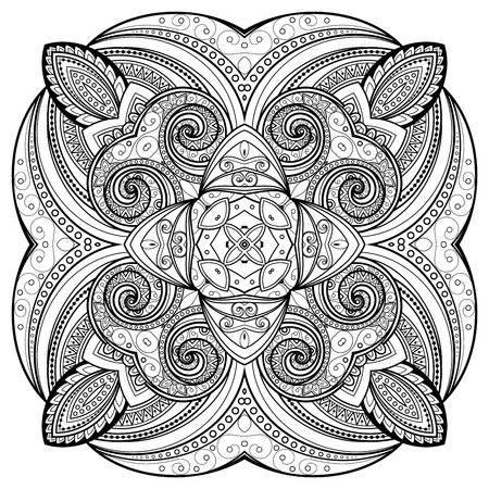 mandala tattoo: Vector Beautiful Deco Monochrome Contour Mandala, Patterned Design Element, Ethnic Amulet