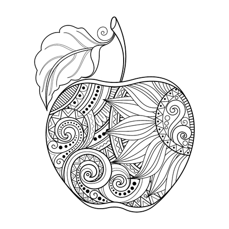 Vector Monochrome Contour Apple. Hand Drawn Decorative Fruit Vettoriali