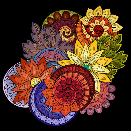 Contexte vecteur de couleur floral. Hand Drawn ornement avec des fleurs. Modèle de carte de voeux Vecteurs