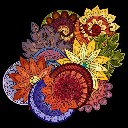 Vector Colored Floral Background. Hand gezeichnete Verzierung mit Blumen. Vorlage für Grußkarte