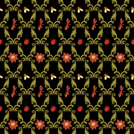 fabric art: Vector Seamless Floral Pattern. Hand Drawn Floral Texture with Decorative Insects, Decorative Flowers, Coloring Book Illustration
