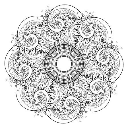 Vector Bella Deco contorno monocromatico Mandala, modellato Elemento del design, Etnica Amuleto Archivio Fotografico - 46399780
