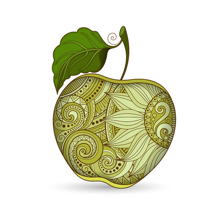 autumn garden: Vector Colored Contour Apple. Hand Drawn Decorative Fruit Illustration