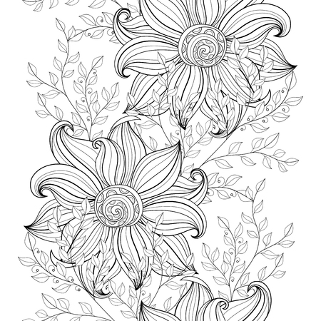 spring summer: Vector Seamless Monochrome Floral Pattern. Hand Drawn Floral Texture, Decorative Flowers, Coloring Book Illustration