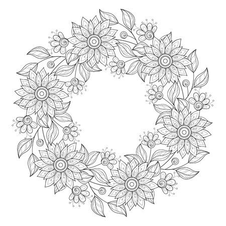 Background Vettore Monocromatico floreale. Disegnato a mano Ornamento con corona floreale. Modello per Greeting Card Archivio Fotografico - 46399846