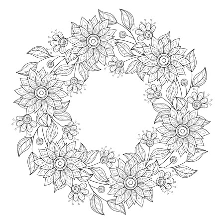 Vector Monochrome Floral Background. Hand Drawn Ornament with Floral Wreath. Template for Greeting Card Reklamní fotografie - 46399846