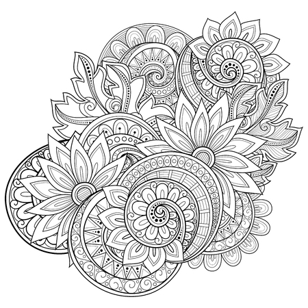 coloring book page: Vector Monochrome Floral Background. Hand Drawn Ornament with Floral Wreath. Template for Greeting Card Illustration