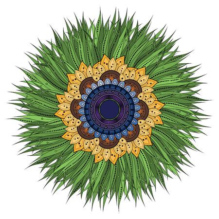 amulet: Vector Beautiful Deco Colored contour Mandala, Patterned Design Element, Ethnic Amulet Illustration