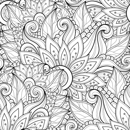 seamless: Vector Seamless Monochrome Floral Pattern. Hand Drawn Floral Texture, Decorative Flowers, Coloring Book Illustration