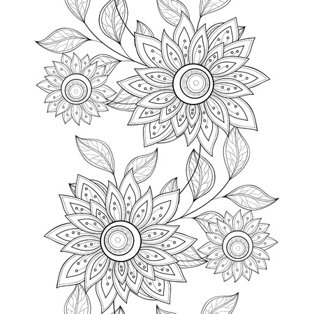 batik: Vector Seamless Monochrome Floral Pattern. Hand Drawn Floral Texture, Decorative Flowers, Coloring Book Illustration