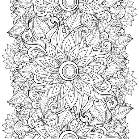 batik: Motif vectorielle Seamless Floral Monochrome. Hand Drawn Floral Texture, Fleurs décoratives, Coloring Book Illustration