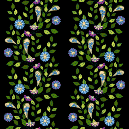 flowerbed: Vector Seamless Floral Pattern. Hand Drawn Floral Texture, Decorative Flowers, Coloring Book