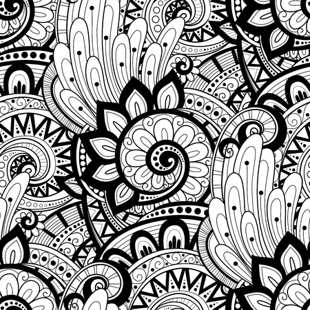abstract art background: Vector Seamless Monochrome Floral Pattern. Hand Drawn Floral Texture, Decorative Flowers, Coloring Book Illustration