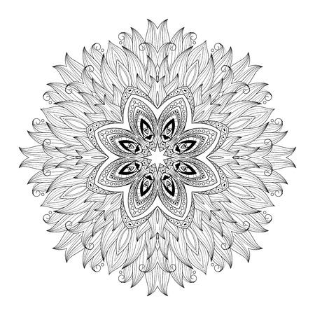 serviette: Vector Beautiful Deco Monochrome Contour Mandala, Patterned Design Element, Ethnic Amulet