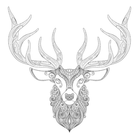 rut: Vector Ornate Deer Horned Head. Patterned Tribal Monochrome Design. Symbol of the New Year and Christmas Holidays