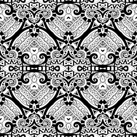damask: Vector Seamless Monochrome Ornate Pattern. Hand Drawn Damask Texture, Vintage Style