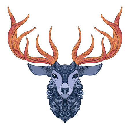 Vector Ornate Deer Horned Head. Patterned Tribal Colored Design. Symbol of the New Year and Christmas Holidays