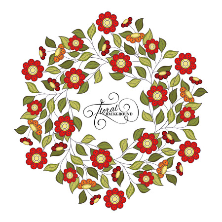 Vector Colored Floral Background. Hand Drawn Ornament with Floral Wreath. Template for Greeting Card