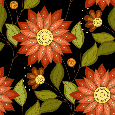 paper art: Vector Seamless Floral Pattern. Hand Drawn Floral Texture, Decorative Flowers, Coloring Book
