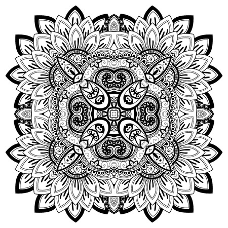 indian ink: Vector Beautiful Deco Monochrome Contour Mandala, Patterned Design Element, Ethnic Amulet