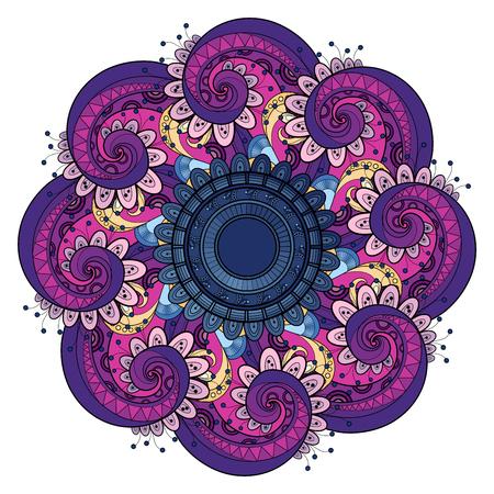 Vector Beautiful Deco Colored Contour Mandala Patterned Design Element Ethnic Amulet Illustration