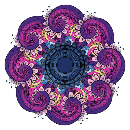Vector Mooie Deco Gekleurde contour Mandala, Patterned Design Element, Etnische Amulet