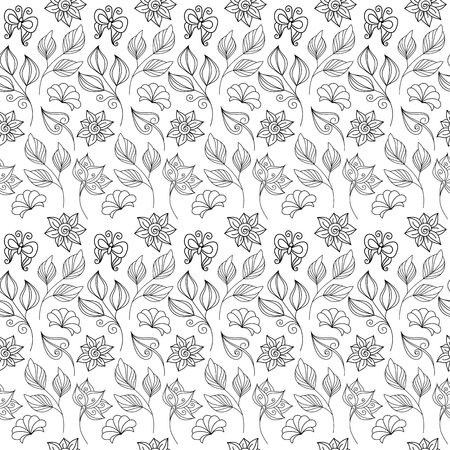 card designs: Vector Seamless Monochrome Floral Pattern. Hand Drawn Floral Texture with Insects, Decorative Flowers, Coloring Book