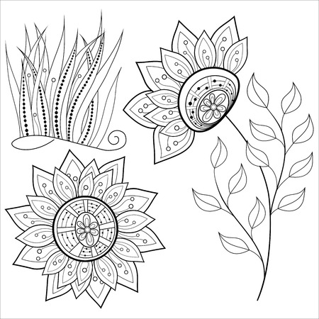 hand drawn flower: Vector Set of Monochrome Contour Flowers and Leaves, Floral Design Elements Illustration