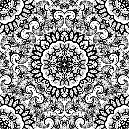 Vector Seamless Monochrome Ornate Pattern. Hand Drawn Mandala Texture, Vintage Indian Style