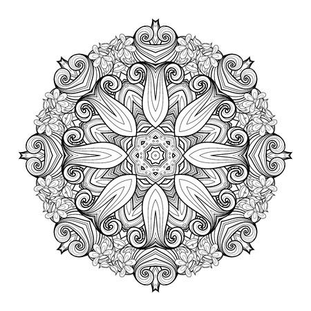 mendi: Vector Beautiful Deco Monochrome Contour Mandala, Patterned Design Element, Ethnic Amulet