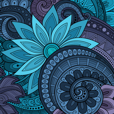 Vector Colored Floral Background. Hand Drawn Ornament with Flowers. Template for Greeting Card Illusztráció