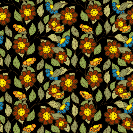 fabric art: Vector Seamless Floral Pattern. Hand Drawn Floral Texture, Decorative Flowers, Coloring Book