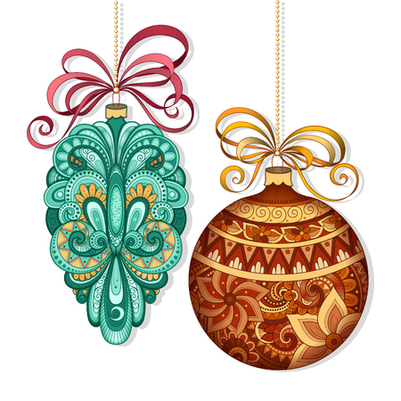 lace up: Vector Ornate Colored Christmas Decorations. Patterned Objects for Greeting Cards, Holiday Greetings. New Year and Christmas Template