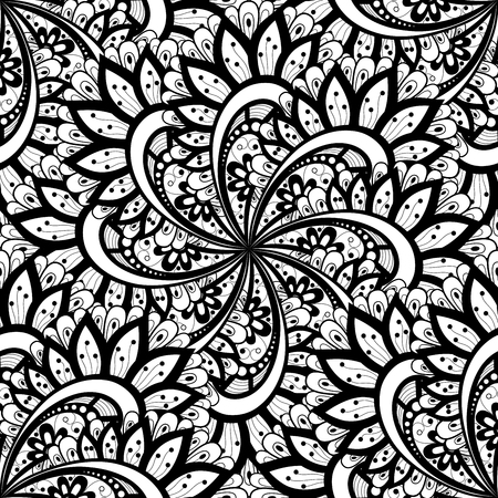 persian art: Vector Seamless Monochrome Ornate Pattern. Hand Drawn Mandala Texture, Vintage Indian Style