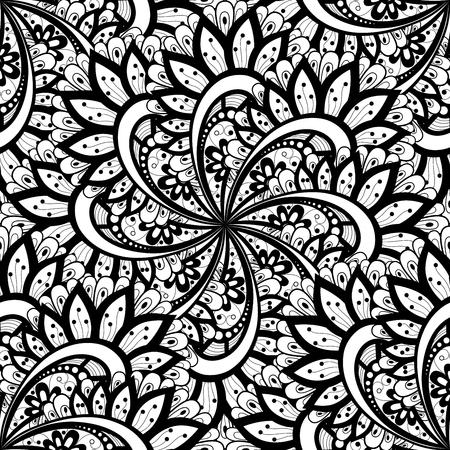 batik: Vectorielle Seamless Monochrome Motif Ornement. Hand Drawn Mandala Texture, Style vintage indien Illustration